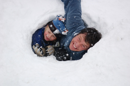 Snow Forts are much better than a snowman . . . You can climb inside!