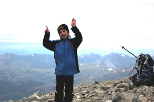 My son at the summit of his first 14er.